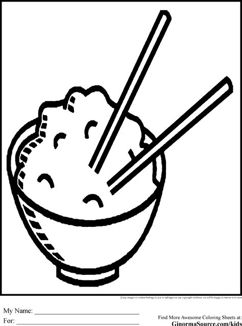 coloring cartoons fried rice coloring pages