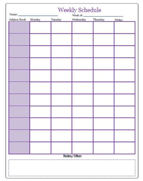 simple weekly planner template homeschool base