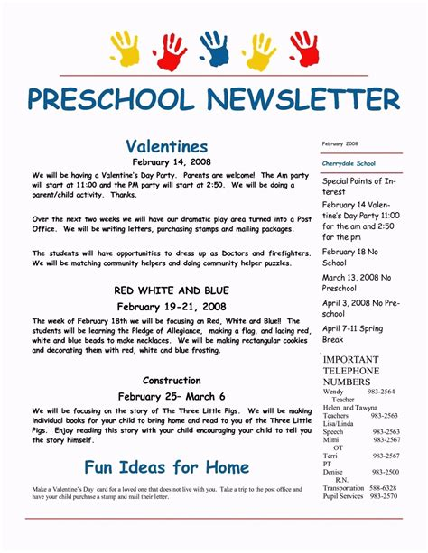 preschool newsletters templates february preschool newsletter template template