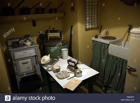 An old Fifties / 1950's style English kitchen in a working