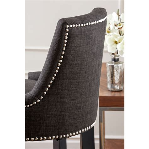 newport fabric nailhead trim ottoman abbyson living abbyson living newport grey fabric nailhead trim bar stool