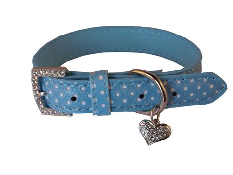 collars with bling gorgeous light blue polka dot leather collar with bling diamante charm ebay