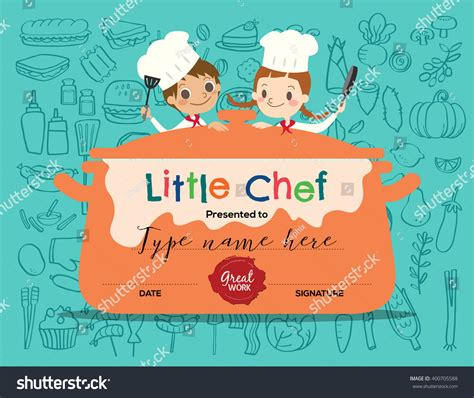kids cooking class certificate design template with little