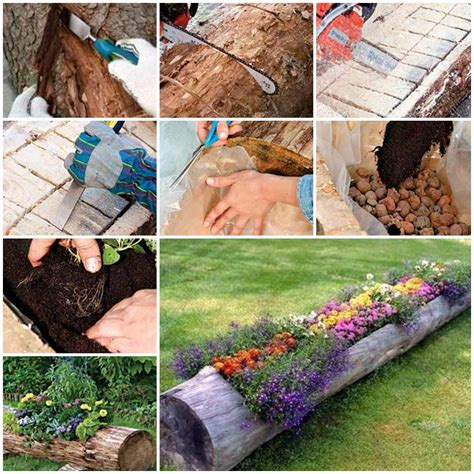 beautiful log garden planter