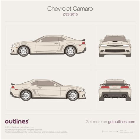 2015 chevrolet camaro drawings outlines