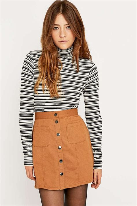 Turtleneck Striped Top ribbed striped turtleneck top my style