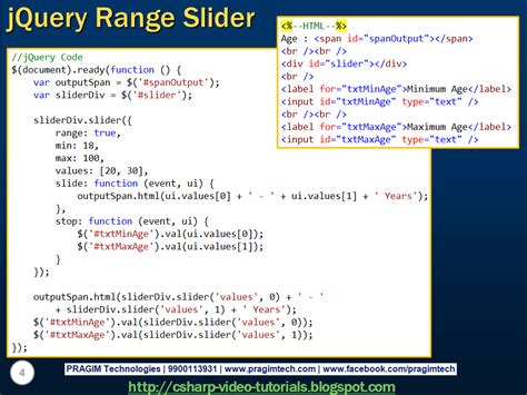 jquery tutorial video sql server net and c video tutorial jquery range slider