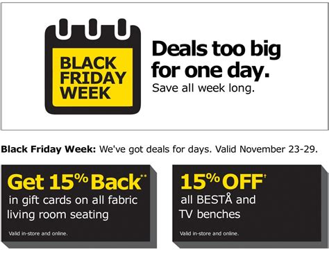 Gift Card Black Friday Deals - ikea canada black friday 2015 flyer deals get 15 back in gift cards on all fabric