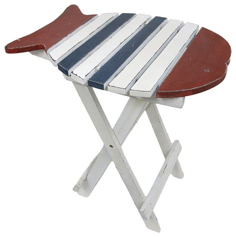 folding accent table red blue and white fish folding wooden accent table
