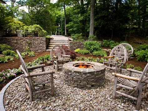 backyard with fire pit landscaping ideas rustic style fire pits landscaping ideas and hardscape