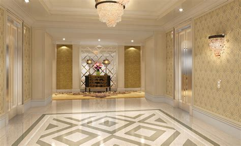 house hall design elevator hall flooring and lighting design rendering