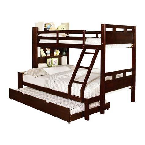 furniture of america bunk beds furniture of america fairfield bookcase bunk bed with trundle atg stores