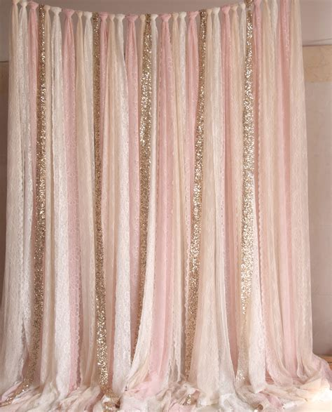 gold lace curtains pink white lace fabric gold sparkle photobooth backdrop