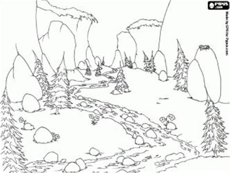mountain landscape coloring page design of mountain river that flows through the meadow and