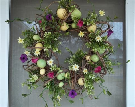 how to make a spring wreath for front door easter spring wreath egg wreath easter pinterest