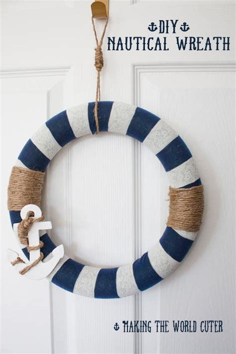 how to use nautical decor to create the perfect living room nautical decor how to make this navy and white wreath
