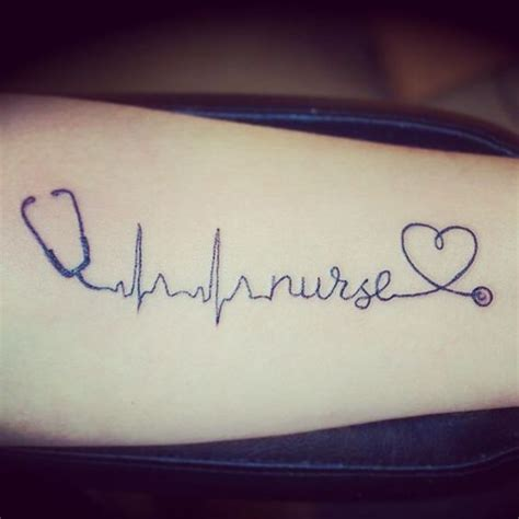 nurse tattoo rn stethoscope heart rhythm ink and