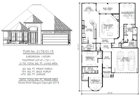 narrow 1 story floor plans 36 to 50 wide