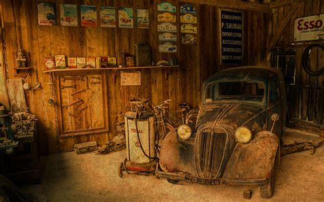 Garage Vintage Vintage Auto Repair Garage With Truck And Signs Mixed