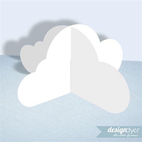How To Make 3d Clouds Out Of Paper - 3d cloud printable decoration template