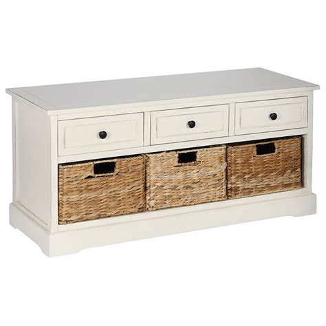 blue storage bench with baskets wooden 3 drawers and basket seat bench storage