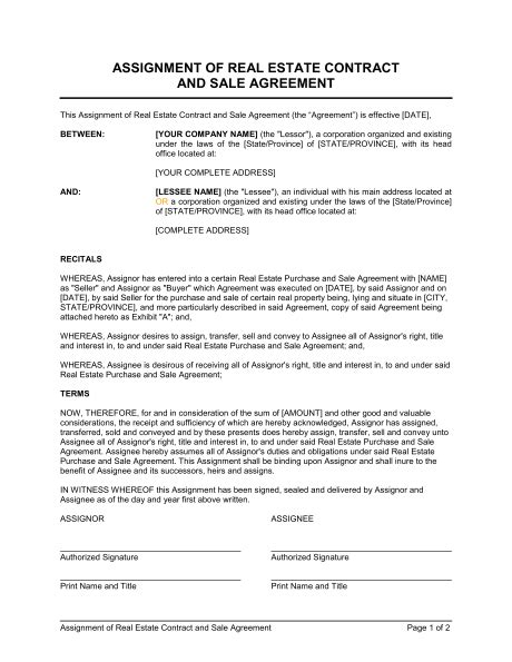 Assignment Of Real Estate Contract And Sale Agreement Template Sle Form Biztree Com Real Estate Sales Contract Template