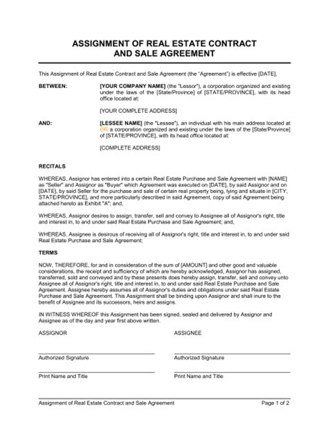 Real Estate Contract Sle by Assignment Of Real Estate Contract And Sale Agreement Template Sle Form Biztree