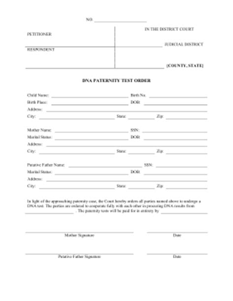 Printable Dna Paternity Order Legal Pleading Template Paternity Test Results Template