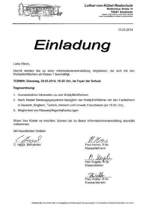 Muster Einladung Zur Informationsveranstaltung elternbrief einladung elternabend thegirlsroom co