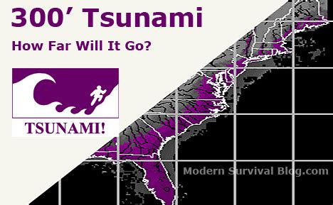 how far did the go books how far inland would a 300 foot tsunami go on the east