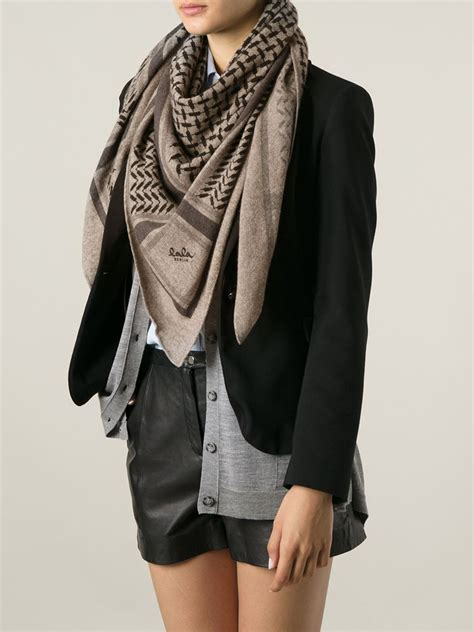 Lala Brown lyst lala berlin knit triangle scarf in brown