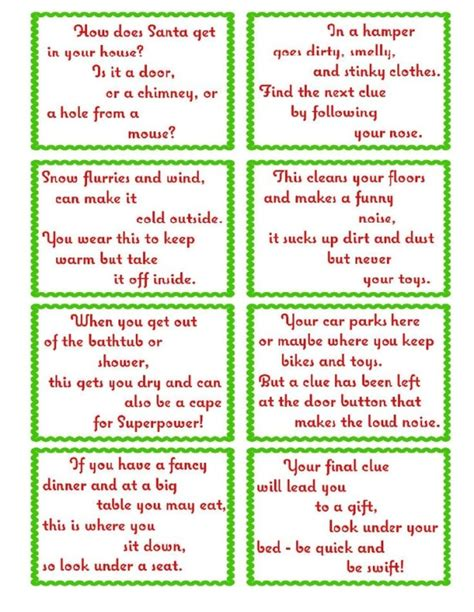 treasure hunt clue cards page 2 elfoutfitters com