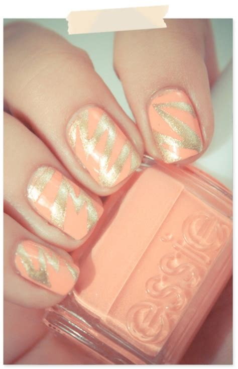peach and gold peach and gold nails pinterest