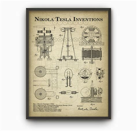 List Of Nikola Tesla Inventions Tesla Inventions Wall Poster Nikola Tesla Patent Wall