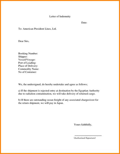 indemnification letter template 4 indemnity letter template daily task tracker