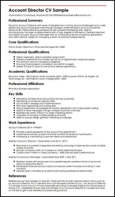 Director Resume Exles by Account Director Cv Sle Myperfectcv