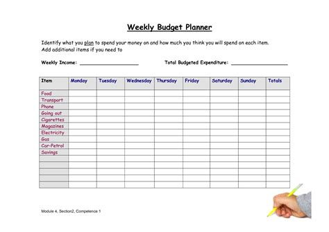 budget planner template 8 best images of weekly budget worksheet free printable