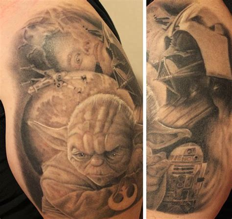dv8 tattoo wars black and white yoda work done by