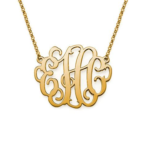 large monogram necklace in 18k yellow by