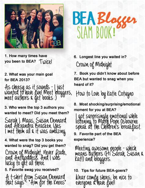 blogger questions bea blogger slam book