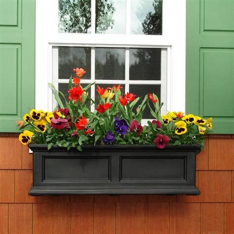 window boxes mayne fairfield 11 in x 36 in plastic window box 5822b