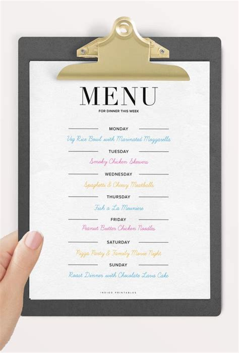 family dinner menu template menu planner dinner planner meal planner printable meal