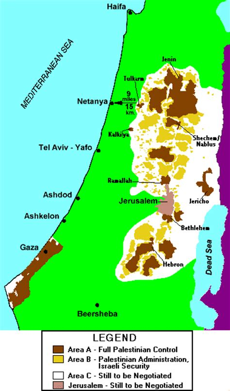 area a west bank palestinian authority jurisdiction map as of december 2000
