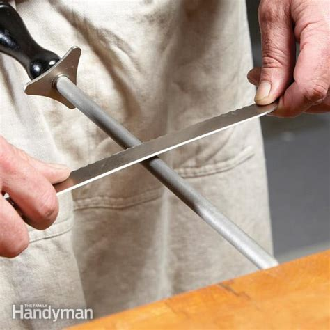 how to sharpen serrated kitchen knives how to sharpen knives the family handyman