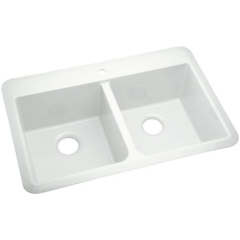 Sterling Kitchen Sink Sterling Slope Drop In Vikrell 33 In 1 Bowl Kitchen Sink In White 1042 1 0 The