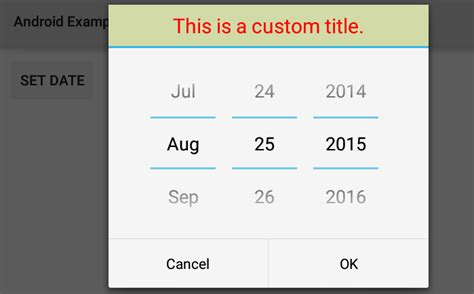 format date android how to create a custom title for datepickerdialog in android