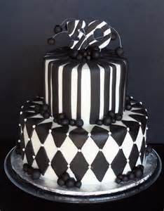 black amp white 50th birthday cake