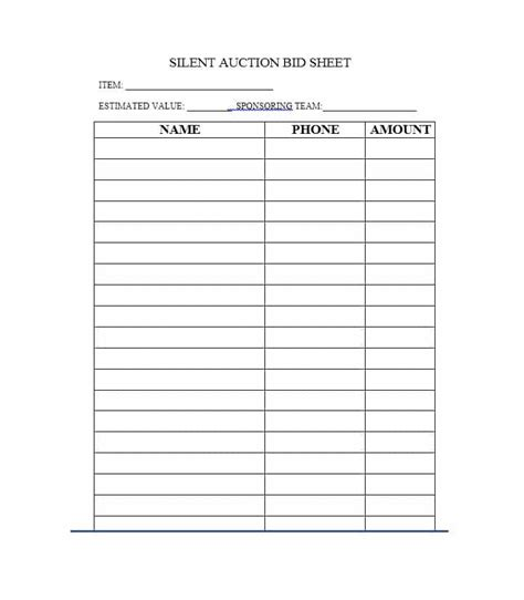 bid in 40 silent auction bid sheet templates word excel