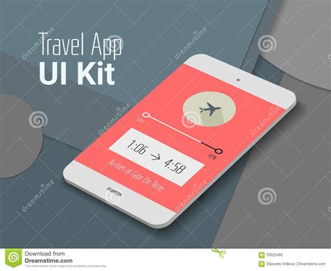 material design mockup travel mobile app ui smartphone mockup stock vector