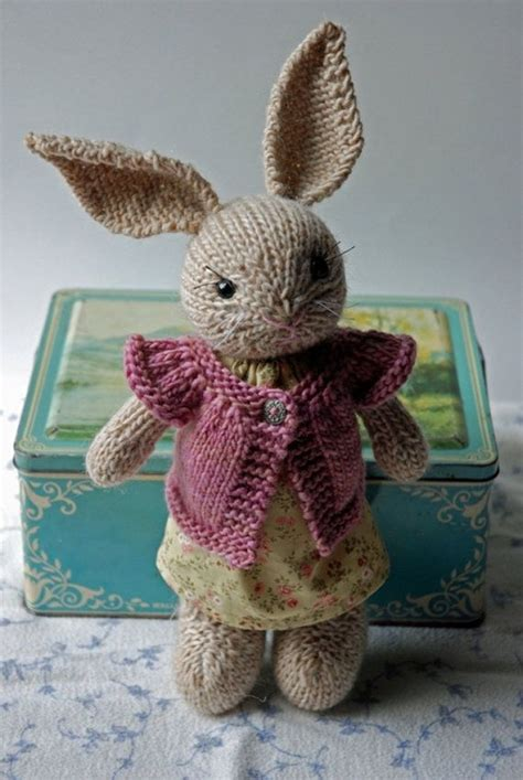 knitting pattern rabbit toy knitted bunny rabbit toy in summer dress with cardigan